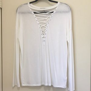 V neck laced top